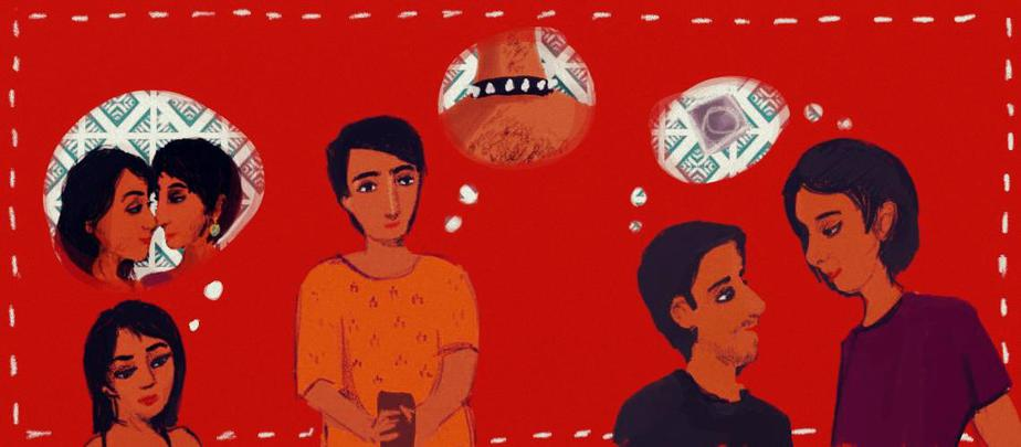 Against a red background, a young woman is dreaming of romancing another woman, another young person is imagining a collar around their neck, and two young people are gazing at each other lovingly.