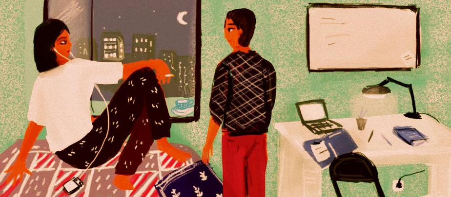 Description: A person sits on a bed, cigarette in hand and earphones in her ears. They look at a second person, who stands beside the bed and looks back at them. To their right is a desk with a lamp, laptop and some books. Behind them is a window through which we see buildings in the moonlight. Credit: Upasana Agarwal.