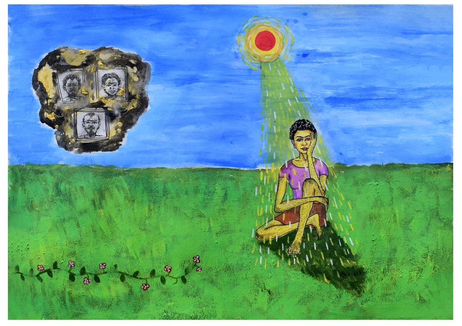 A person sits on green grass, their legs crossed, face resting in one hand, looking straight ahead. They are bathed in yellow light from the sun above. In the sky, to the left, is a black cloud speckled with gold, inside which are three framed black and white portraits. A small creeper of flowers grows to the left.