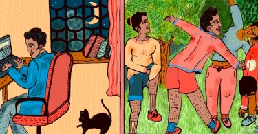 To the left, a figure with cropped hair sits at a desk, using a laptop. There is a vase full of flowers on the desk. A crescent moon in the night sky outside can be seen through a window, and a black cat frolics on the floor. On the right, in a green field, four people stretch in preparation to play sports. Credit: Alia Sinha.
