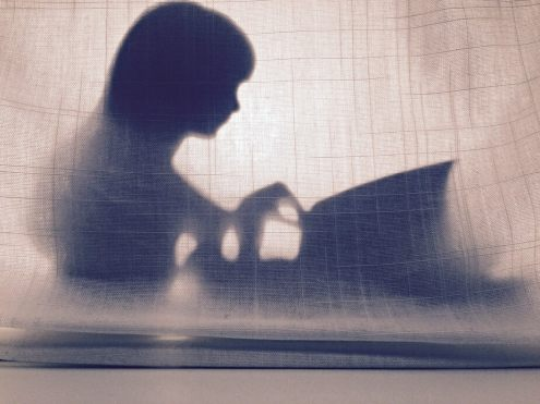 The image shows a figure sitting behind a texture gauze curtain. They are facing right, reading and turning the pages of a book or a newspaper in their lap. The curtain has a greyish tint to it, while the figure is an ink-blue silhouette.