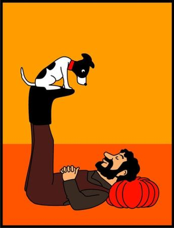 A bearded person lying on their back, with their eyes closed, balances a small dog on their feet. The dog looks at them.