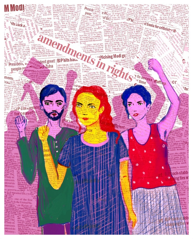 Three people raise their fists in protest, against a background which is a collage of newspaper headlines.