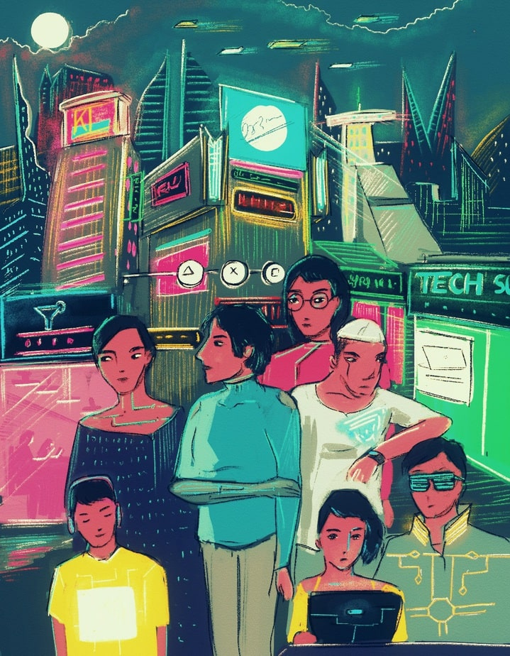 A number of people (each wearing a device or prosthetic) stand together against the background of a futuristic city.