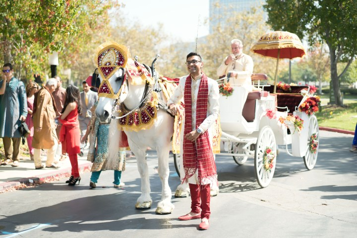 Indian groom standing next to the horse and carriage for his Indian wedding baraat