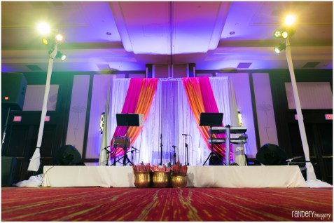 Stage for the band for garba