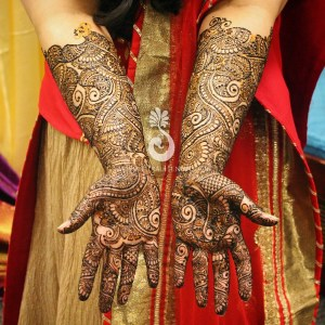Hiral Henna's mehndi designs on an Indian bride's arms and hands up to her forearm.
