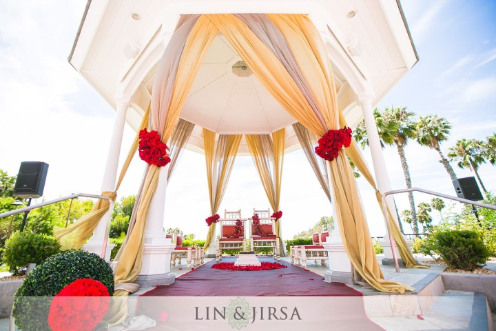 Indian wedding mandap style designed on a pre-existing gazebo at the venue.