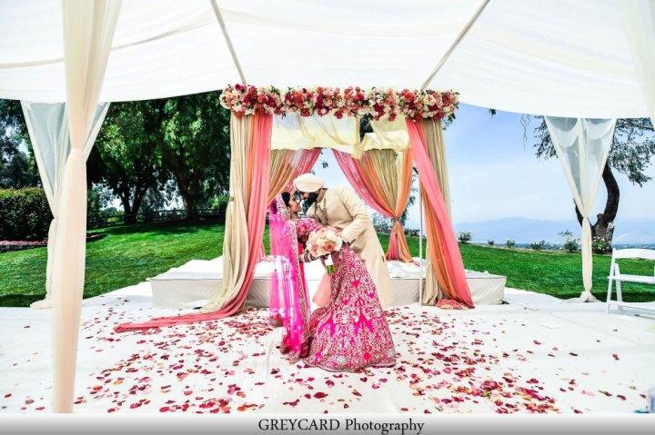 Indian couple after their non-Gurdwara Anand Karaj.