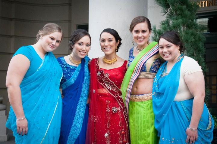 Indian-wedding-Washington-DC-bridesmaids-saris-multicultural-wedding-Indian-groom-baraat-indoor-wedding-mehndi-lehenga