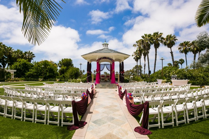 simple Indian wedding mandap style on a gazebo at the venue.