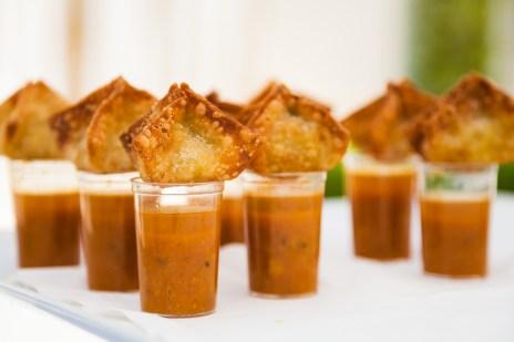 Indian wedding samosas single served on cups