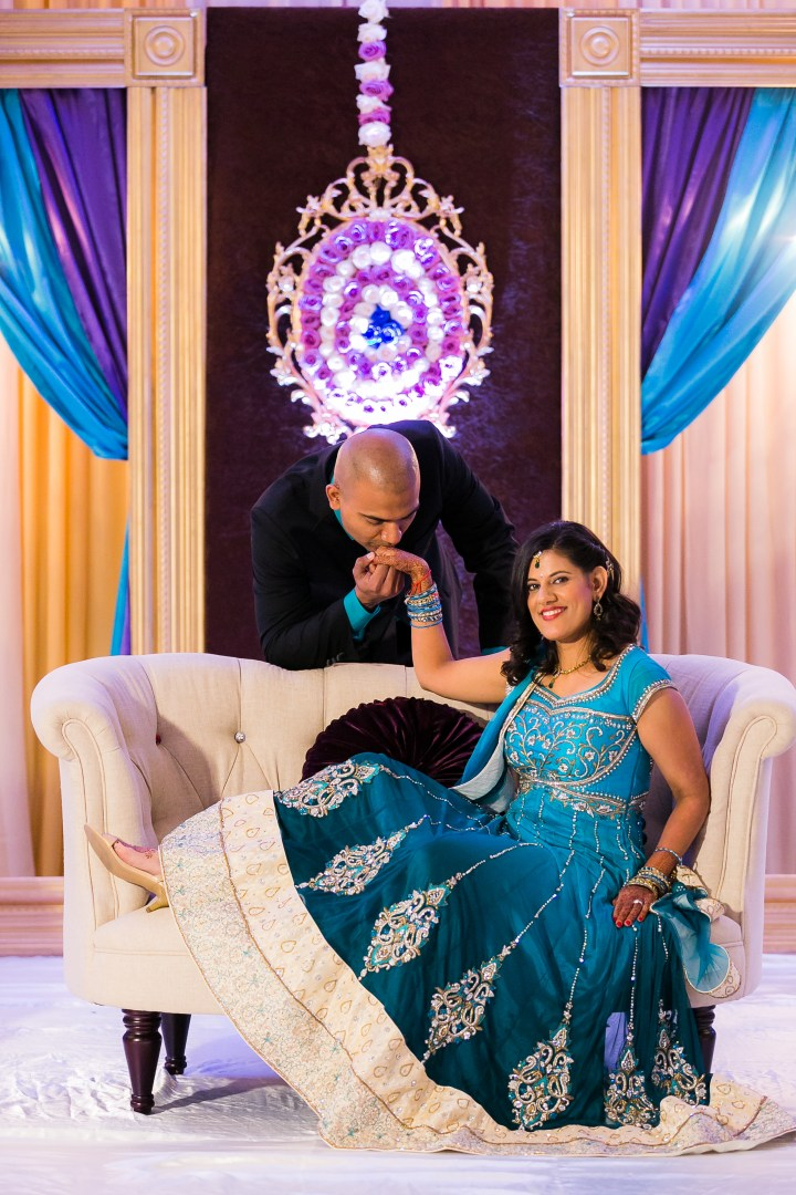 Newport-Beach-Marriott-Indian-Wedding-Photography-sweetheart-table-reception-decor-purple-blue-gown-Artesia