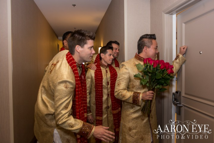 Indian-wedding-groomsmenkurtas-flowers-bouquet-Newport-Beach-Marriott-roses-dupatta