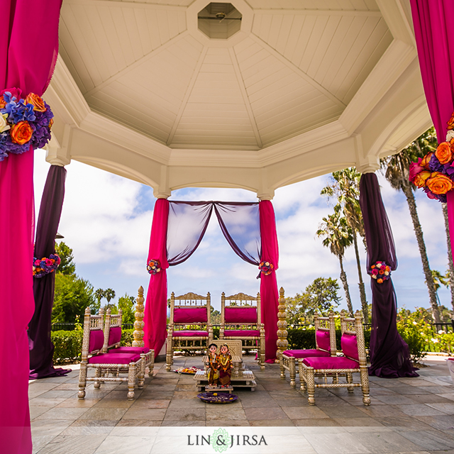 Newport-Beach-Marriott-Indian-wedding-Mandap-Photography-fire-decor-Hindu-Jain-ceremony