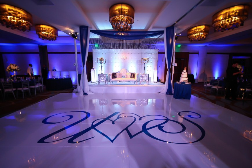 The grand ballroom setup for an Indian wedding reception at the Hyatt Regency Orange County
