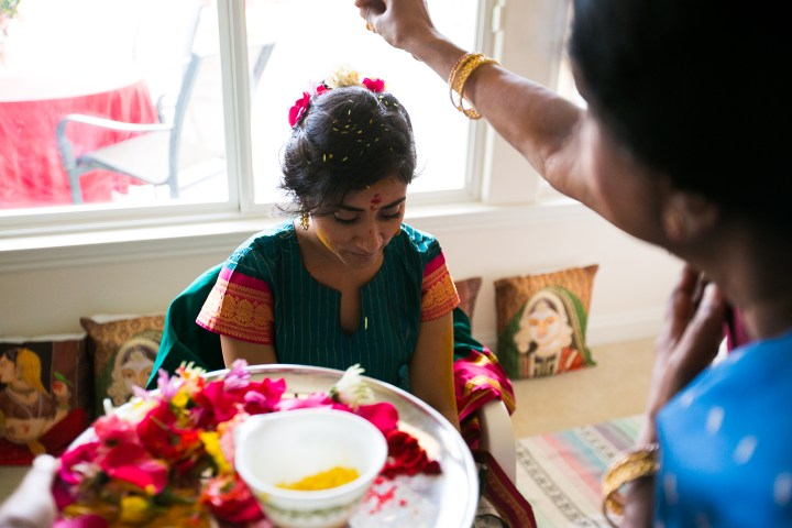 pre-Hindu wedding pooja for the bride haldi ceremony