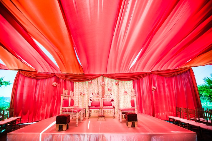 Inside of the tent mandap area for the Hindu Indian wedding ceremony.