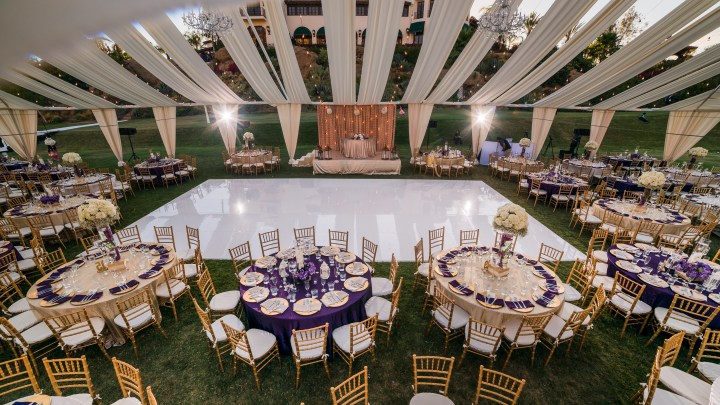 3D Sounds handled all of the lighting for their outdoor wedding reception in a tent.