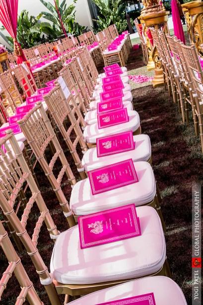 Indian wedding ceremony at Hotel Irvine. The pink program match the pink mandap.