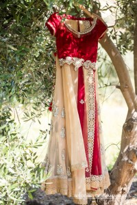 lehenga hanging of an Indian bride - Gujarati and Bengali for her Indian, Hindu wedding ceremony outdoors in a mandap