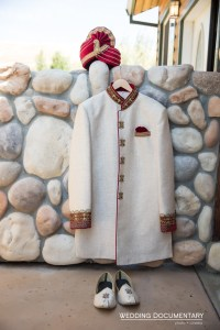 Groom's sherwani and sehra for an Indian wedding.