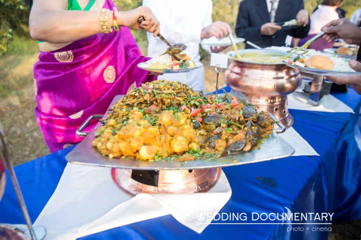 Indian food served buffet style at an Indian wedding