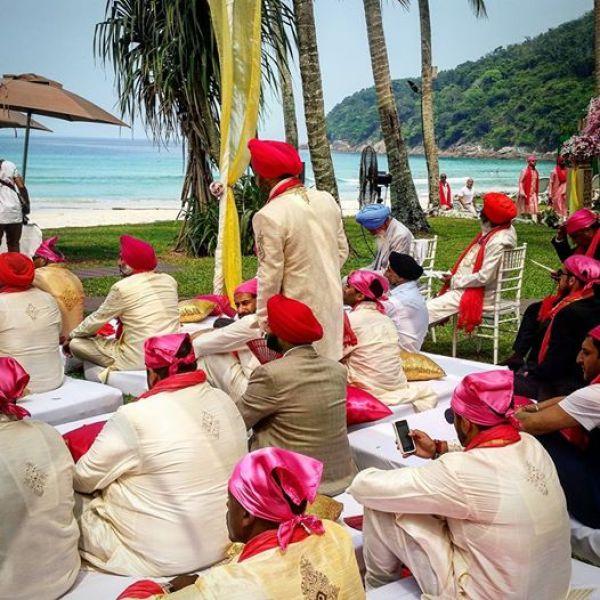 Guys wearing rumaal during Sikh Punjabi, Anand Karaj, Indian wedding in Phuket, Thailand.