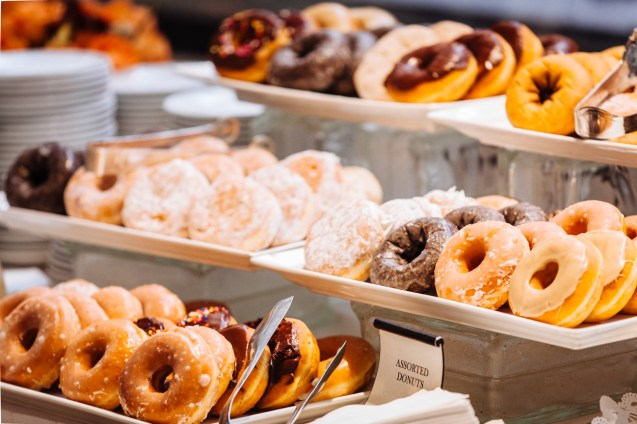 Assorted donuts served for breakfast.