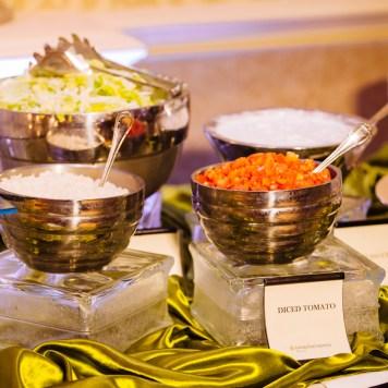 Meditteranean food was served an a sangeet for an Indian wedding.