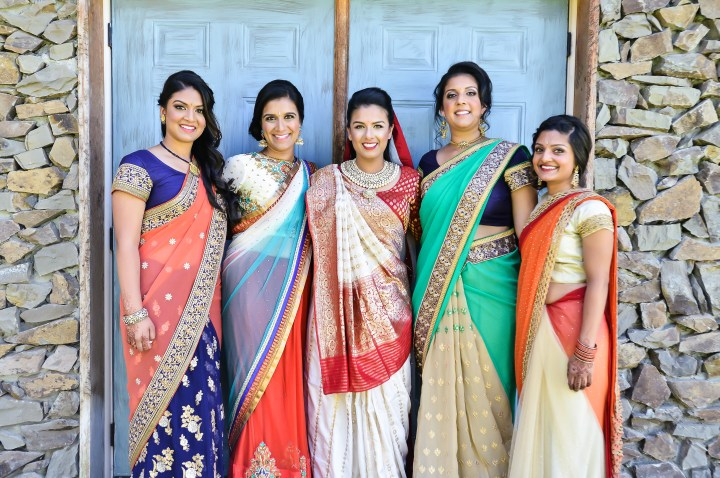 Indian bride with her family and friends
