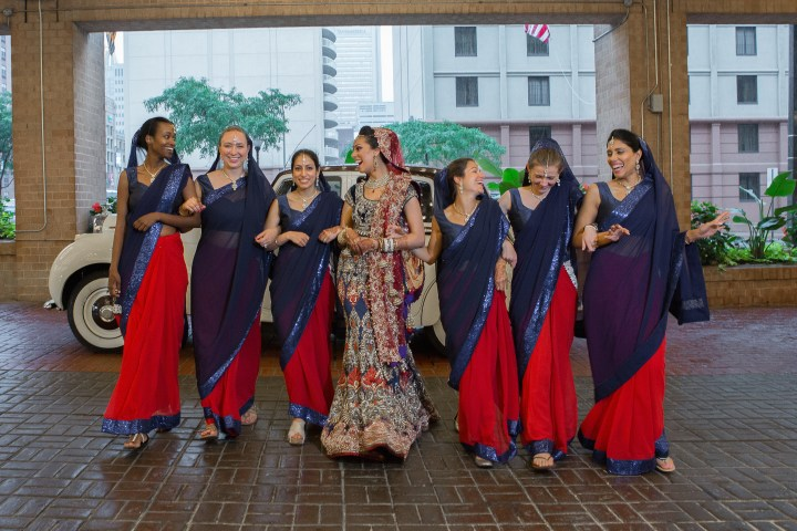 Indian bride and bridesmaids