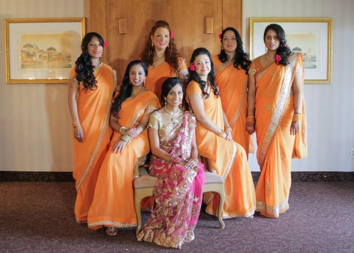 Ashmi-Suraj-Indian-wedding-venue-baraat-Hindu-Jain-San-Diego-reception-wedding-party-bridesmaids-saris