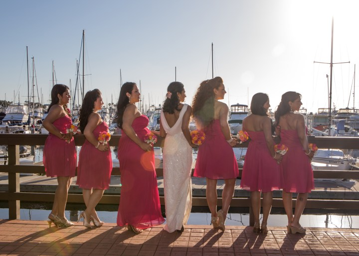Ashmi-Suraj-Indian-wedding-venue-baraat-Hindu-Jain-San-Diego-reception-wedding-party-bridesmaids-groomsmen-white-dress