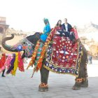 Meera & Anurag on the 'decked out' ele at Amber Fort.