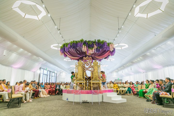 Open faced mandap style for an Indian wedding.