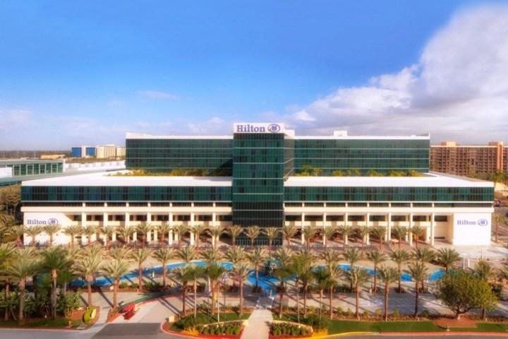 The exterior of the Hilton Anaheim