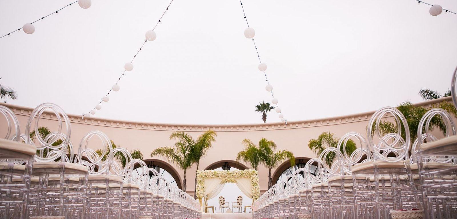 Indian wedding ceremony mandap at the Hilton Beachfront Resort in Santa Barbara