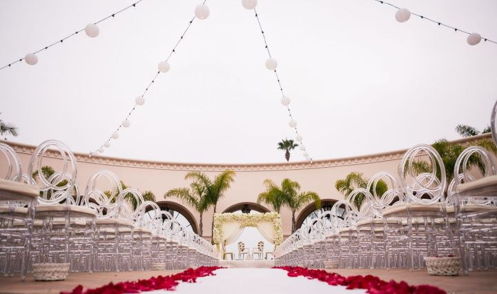 Indian wedding ceremony mandap at the Hilton Beachfront Resort in Santa Barbara