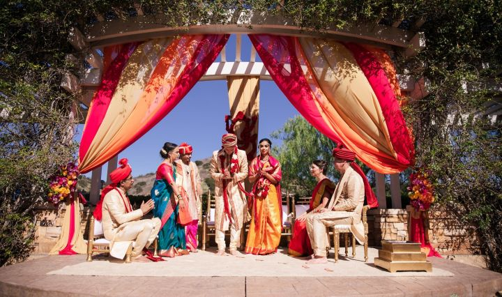 An Indian wedding ceremony in a mandap at Black Gold Golf Club.
