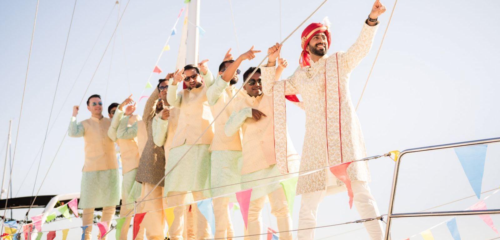 Indian wedding baraat on a boat
