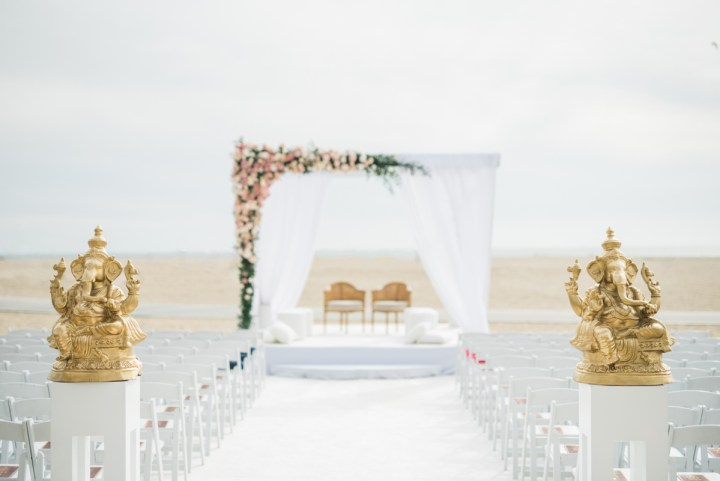 Santa Monica beach Indian wedding mandap