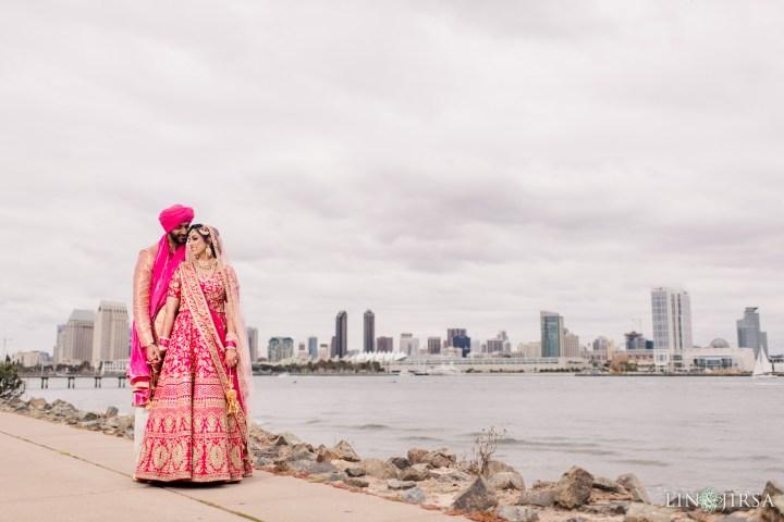 Indian bride and groom taking photos on Coronado Island