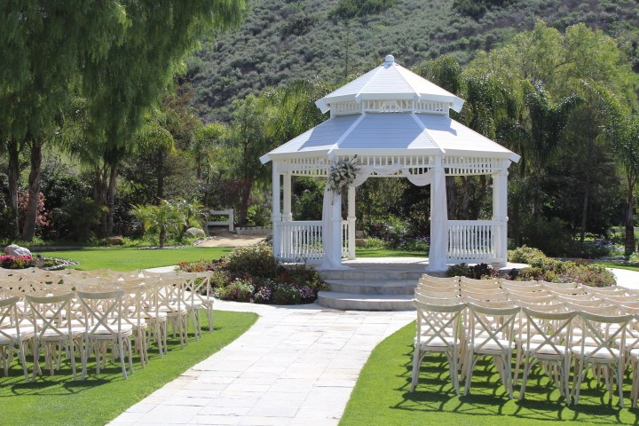 A wedding ceremony at the Garden Gazebo at Moorpark Country Club.