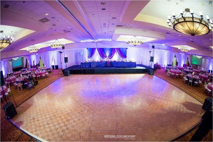 Ballroom dressed for wedding reception Santa Clara Marriott