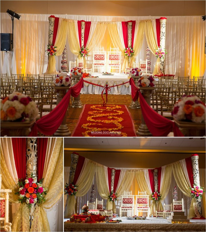 Indoor mandap in the ballroom Santa Clara Marriott