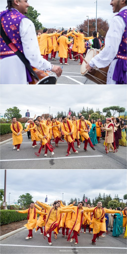Groomsmen dancing at Indian wedding baraat