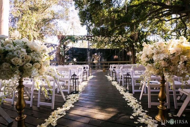 wedding ceremony in the Oaks Room at Calamigos Ranch in Malibu, California.