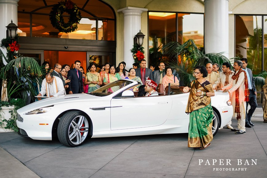 A baraat at the front entrance of the Doubletree Suites Anaheim Convention Center