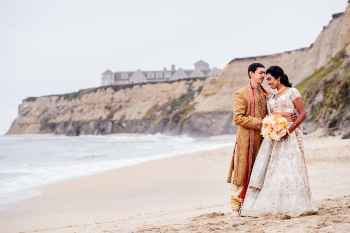 Indian couple romantic oceanfront photo session at The Ritz-Carlton Half Moon Bay